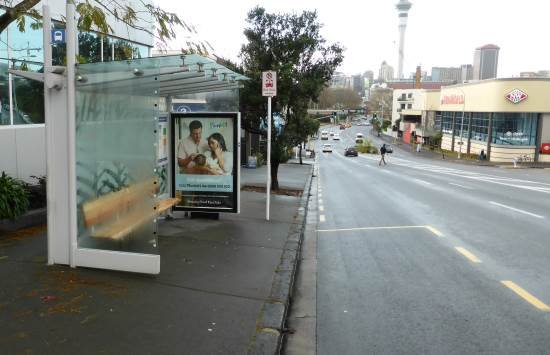 Bus stop on College Hill Auckland