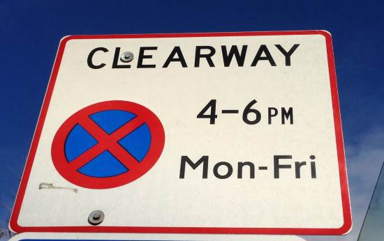 clearway sign