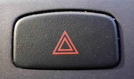 Hazard warning light button