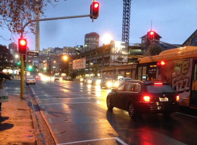 Wet night on Victoria Street, Auckland