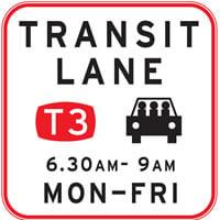 Transit lane T3 sign