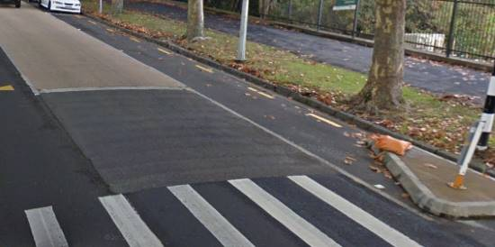 high grip road surface at pedestrian crossing