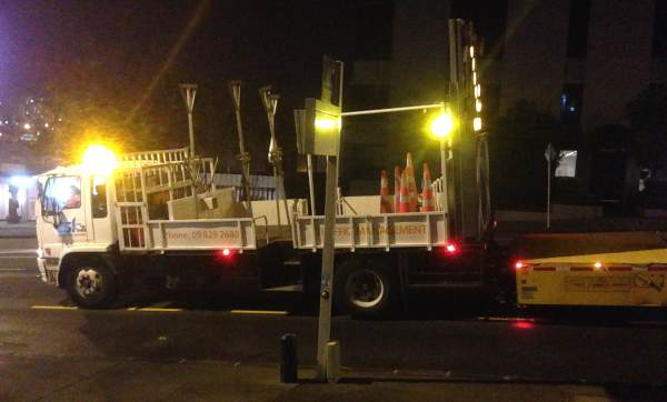 maintenance vehicle with flashing lights