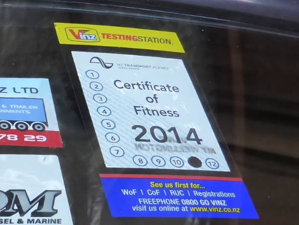 certificate of fitness sticker