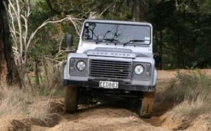 land rover defender on farm