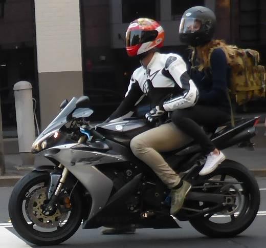 motorbike with pillion passenger