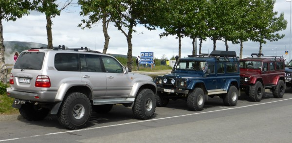 super jeeps at Geysir