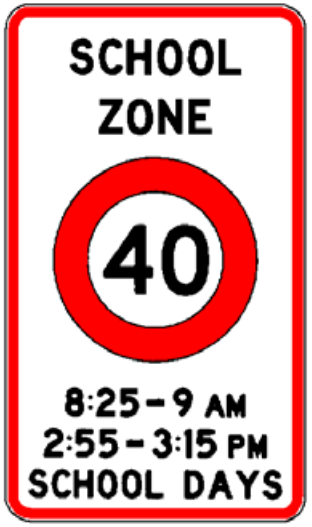 Permanent school zone sign