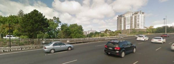 The visible portion of the Symonds Street on-ramp is from the white ute to the right-hand side of the image - not very much for other drivers who are in the left-hand lane.
