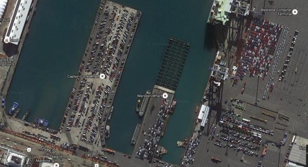 Satellite image showing the wharves full of vehicles waiting to be taken to distribution centres and vehicle dealers
