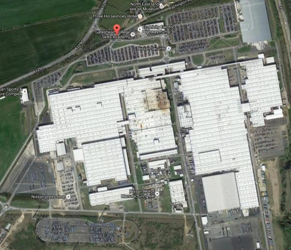 This Nissan plant in Sunderland, UK, is huge, and the car parks where the vehicles are driven to are over a kilometre away