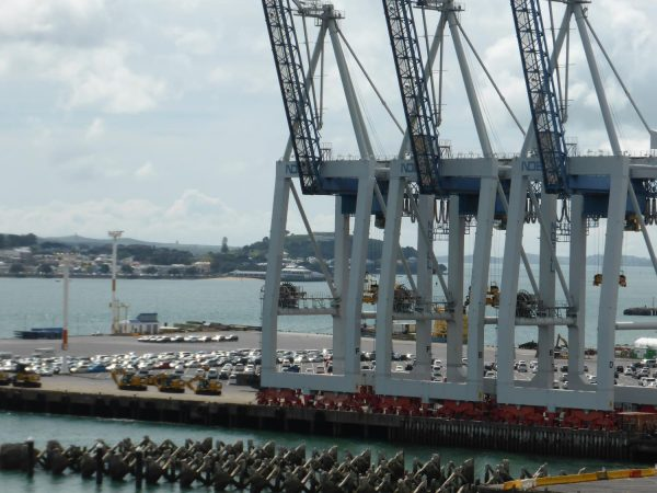 Behind the cranes, imported cars can be seen on the Bledisloe Container terminal