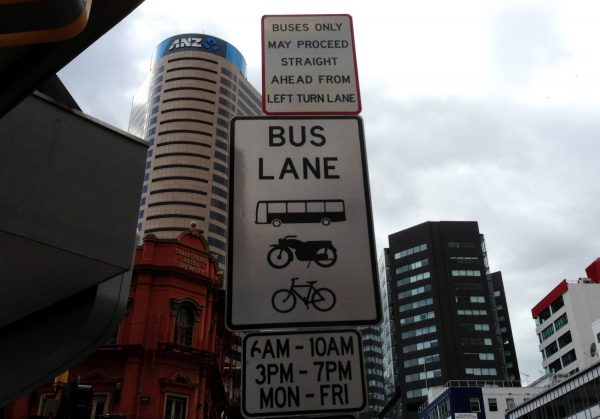 This bus lane is noted by a sign which also includes motorbikes and bikes